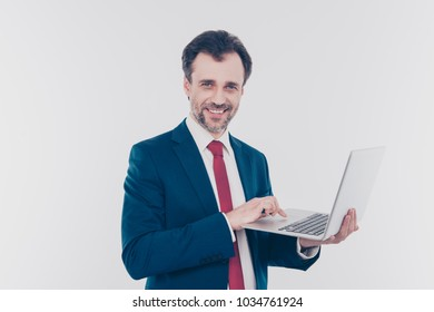 People smart clever confident chatting email send receive update fixing download digital concept. Portrait of excited cheerful banker searching information on the internet isolated on gray background