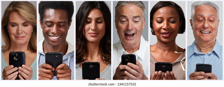 people with smartphones and mobile cell phones