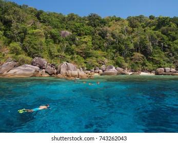 People snorkel in beautiful sea with clear blue sky at Similan Islands (Mu Ko Similan), Phang Nga Province, Thailand.