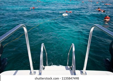 People snorkeling in greenblue tropical sea waters near a yacht boat