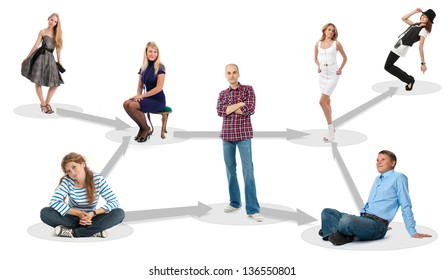 people in social network - isolated over a white background