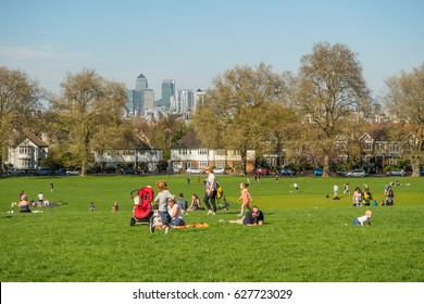People in a South-East London Park. April, 2017.