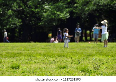 People spending holidays at the lawn of the park