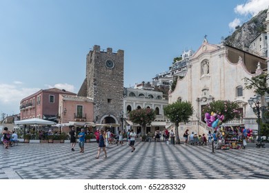 people at the square of Taormina Sicily Italy August 2016