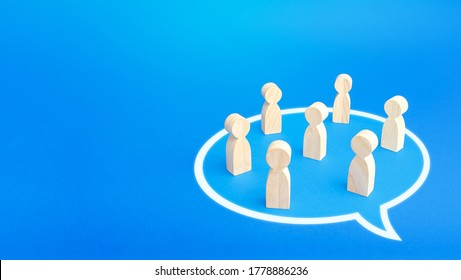 People stand in a conversation cloud bubble shape. Active discussion. Taking part in the discussion dialogue. Cooperation and collaboration, development of joint solution, consensus. Initiative group
