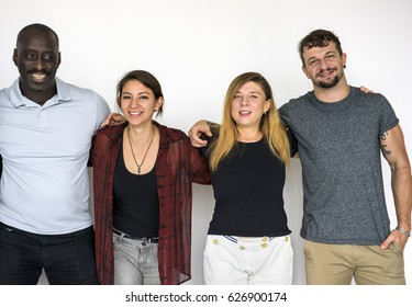 People standing in group for photoshoot