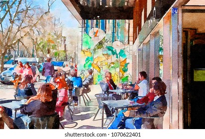 people in street cafe of  Lisbon, watercolor style