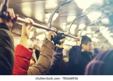 people in the subway in St. Petersburg
