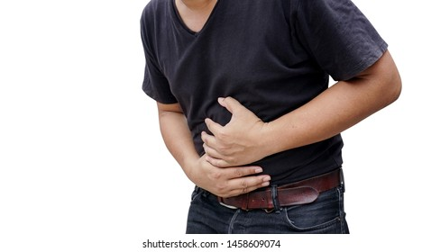 people suffers from stomachache; sick man with stomachache, stomach gas, food poisoning, indigestion; body sickness cancer concept