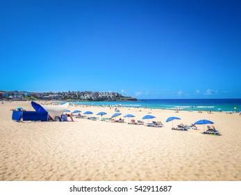 People sunbathing on the Bondi Beach in Bright Sunny Day, Australia