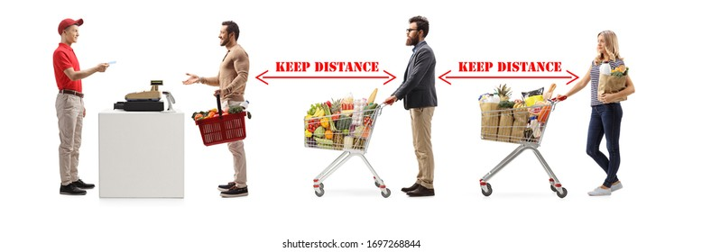 People in a supermarket at a cash register waiting and keeping distance between them isolated on white background