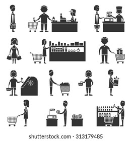 People in supermarket grocery store customers black icons set  illustration