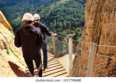 People in suspended track in the Caminito del Rey gorge