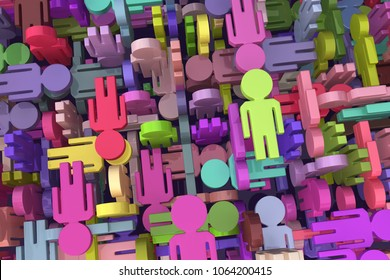 People symbols colored chaotic mix, 3d illustration, horizontal