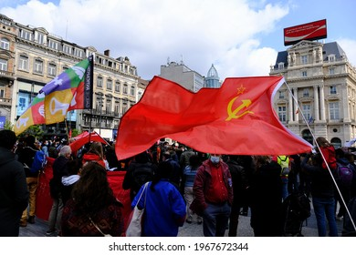 People take part in demonstration during a May Day protest in Brussels, Belgium on May 1st, 2021