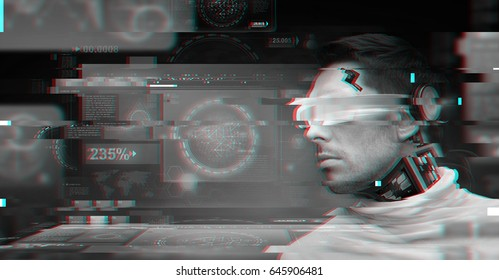 people, technology and cyberspace concept - man with 3d glasses and microchip implant or sensors with virtual screens over dark background
