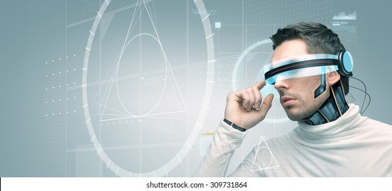 people, technology, future, engineering and progress - man with futuristic 3d glasses and microchip implant or sensors over gray background with golden section on virtual screen