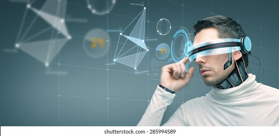 people, technology, future and progress - man with futuristic 3d glasses and microchip implant or sensors over gray background with virtual screen