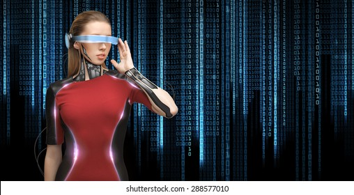 people, technology, future and progress - young woman with futuristic glasses and microchip implant or sensors over black background with blue binary system code