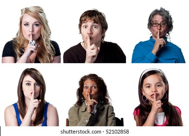 people telling others to be silent, fingers on lips