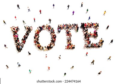 People that vote. Large group of people walking to and forming the shape of the word text vote on a white background.