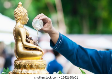 People in traditional ceramony in Songkran festival for pay respect the elderly and holy thing - Songkran festival of northern Thai traditional holiday concept