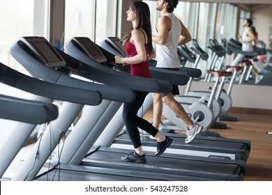 People training on a treadmill