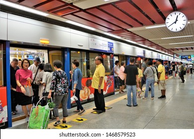People travel by the Blue Line MRT at the Wat Mangkon Station during the trial period. Bangkok Thailand on 2 August 2019.