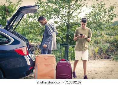 people travelling by car, holidays and luggage