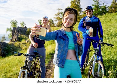 People travelling on a bicycle