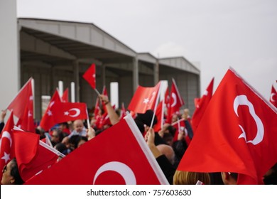 People with Turkish Flags