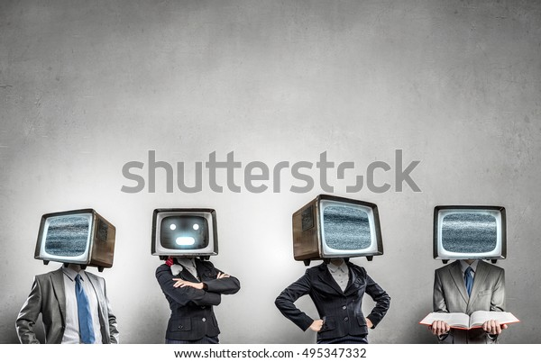 People Tv Instead Head Mixed Media Stock Photo (Edit Now