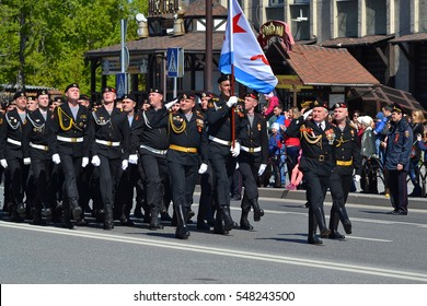 People in uniform at demonstration in honor of a Victory Day on May 9, 2016. Tyumen, Russia.