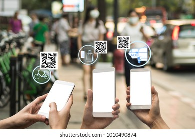 people use QR code payment in daily life , cashless social with fin tech