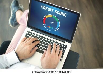 People using laptop and CREDIT SCORE concept on screen