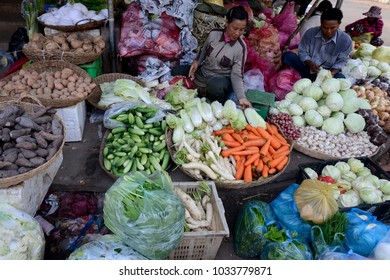 people at the Vegetable and Fruit Market in the old City of Siem Riep near the Ankor Wat Temples in the west of Cambodia.     Cambodia, Siem Reap, April, 2014