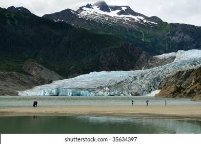 People viewing Mendenhall Glacier and Waterfall, Juneau, Alaska