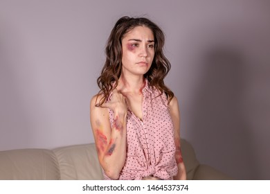 People, violence and abuse concept - Woman victim suffering from abuse, harassment