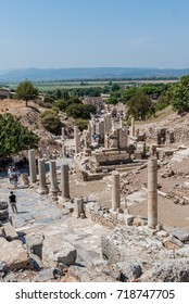 People visit ancient ruins at Ephesus historical ancient city, in Selcuk,Izmir,Turkey:20 August 2017