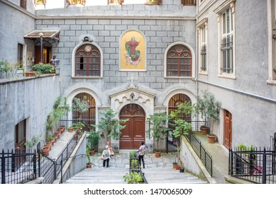 People visit Church of St. Mary Draperis,a Roman Catholic Church built in 1584 Beyoglu,Istanbul,Turkey.25 July 2019