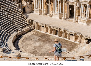 People visit the ruins of the ancient city of Hierapolis of the Roman and pre-Roman era in Pamukkale, Turkey.25 August 2017