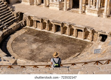 People visit The ruins of Antique Theater in ancient Greek city Hierapolis, Pamukkale, Turkey.25 August 2017.