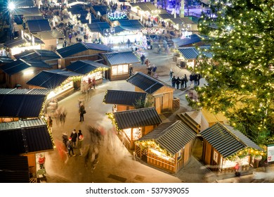People visiting the traditional Wien Christmas Market (Vienna, Austria, Europe - December 2016)
