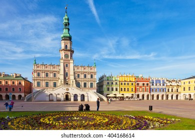 People visitors Main Market square in the Old Town, on April 02, 2016 in Zamosc, Poland.
