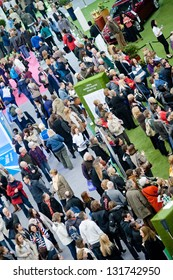 People visits the crowded exhibit trade show booths stands at the Ideal Home Show in London on March 15, 2013. It is the annual event bringing the latest inventions and designs for modern house.