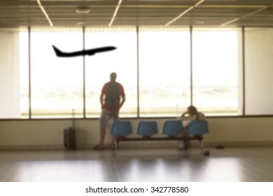 people waiting aircraft at airport for travel