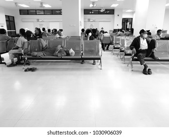People waiting for a hospital visit for a long time until they have to sleep.sakon nakhon,thailand. -22 Feb 2018