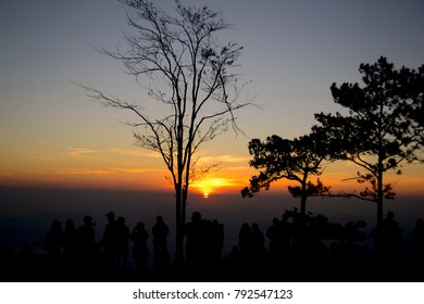 People waiting for sunrise in Thailand