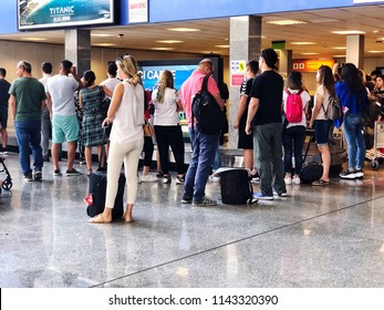 People waiting their luggages in Bodrum airport domestic terminal of Mugla in Turkey