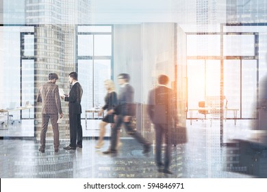 People walk in a modern office lobby interior with a meeting room with glass walls. There is a wooden door and a wall fragment. 3d rendering, toned image, double exposure